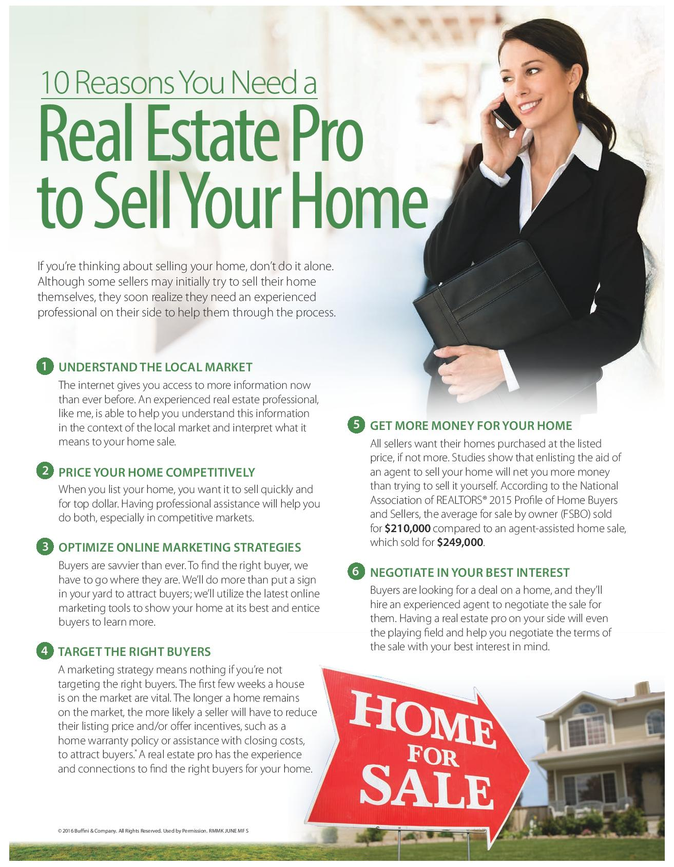 10 Reasons You Need A Real Estate Pro to Sell Your Home Part 1