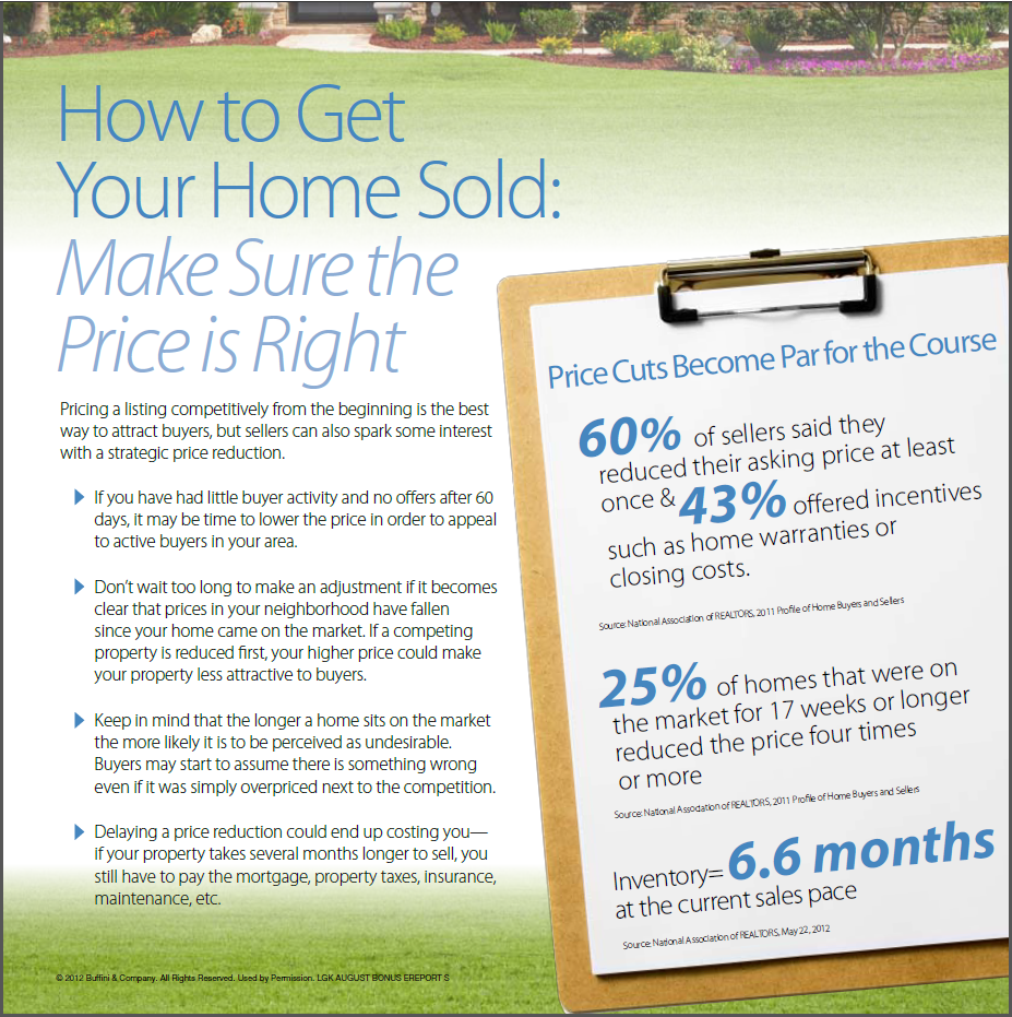 How to Get Your Home Sold - Make Sure the Price is Right